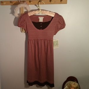 NWT Bonnie Jean Size 14 Pink Brown Striped Dress